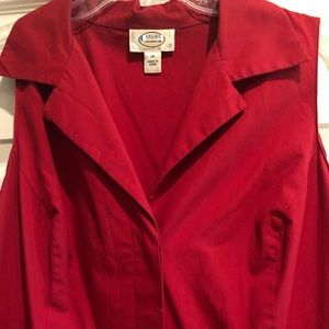 Talbots Button Down Red Dress Size 16